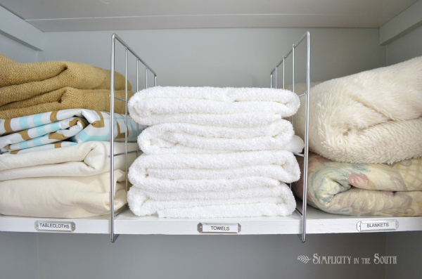 Great linen closet organization ideas like this one from Simplicity in the South