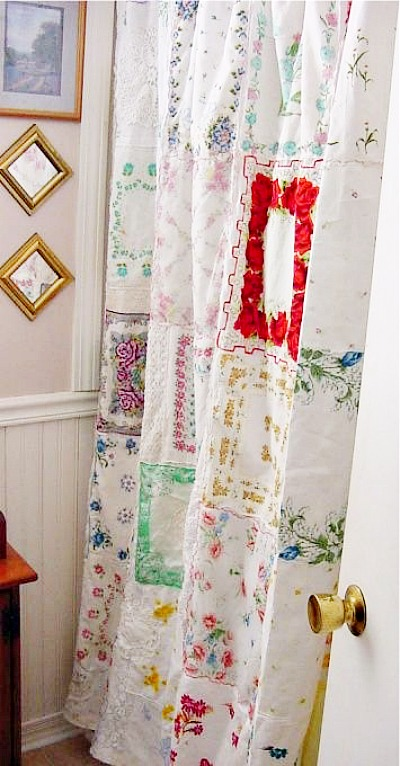 vintage handkerchiefs repurposed into a shower curtain