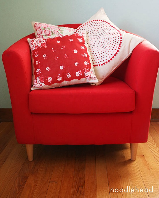 repurpose vintage hankies into pillows