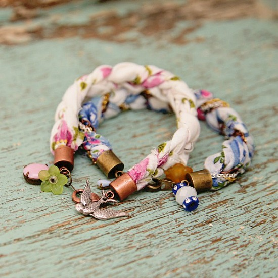 A collection of ideas for repurposing vintage hankies like this one - vintage hankies made into bracelets by My So Called Crafty Life