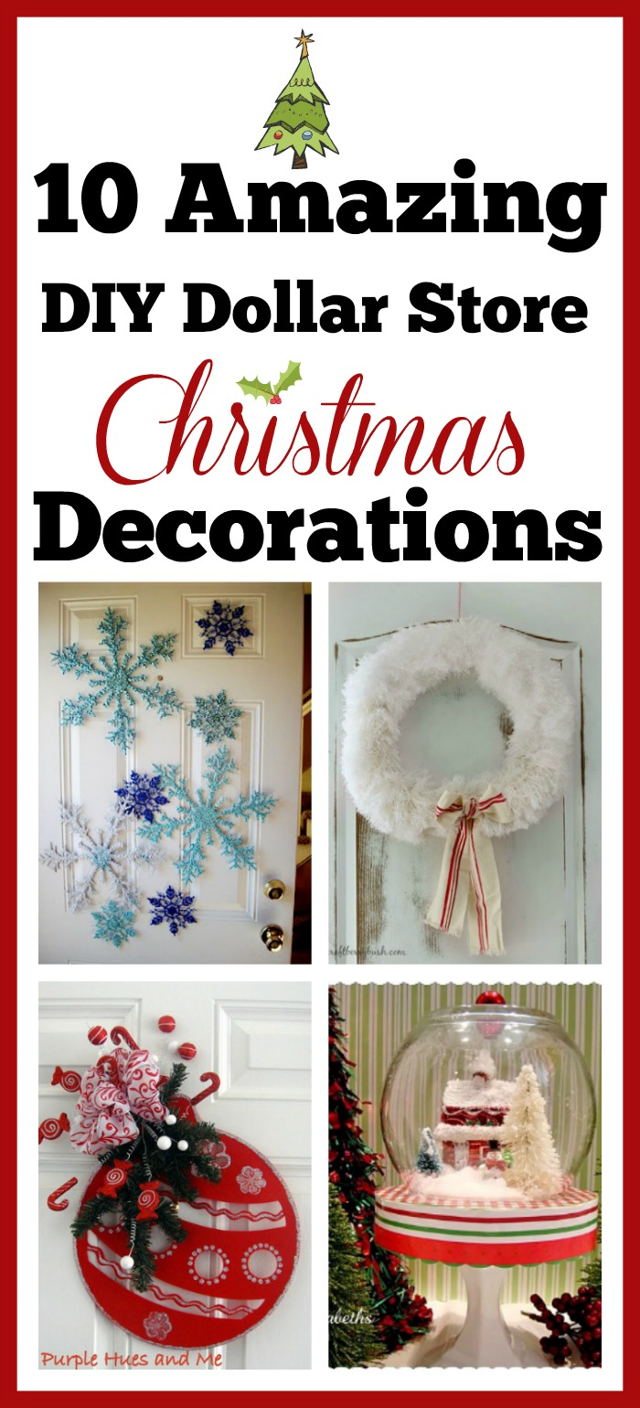 Create beautiful Christmas decor on a budget with these DIY Dollar Store Holiday decorations & crafts. |10 DIY Dollar Store Holiday Decorations, dollar store crafts, easy Christmas crafts, DIY Home decor ideas