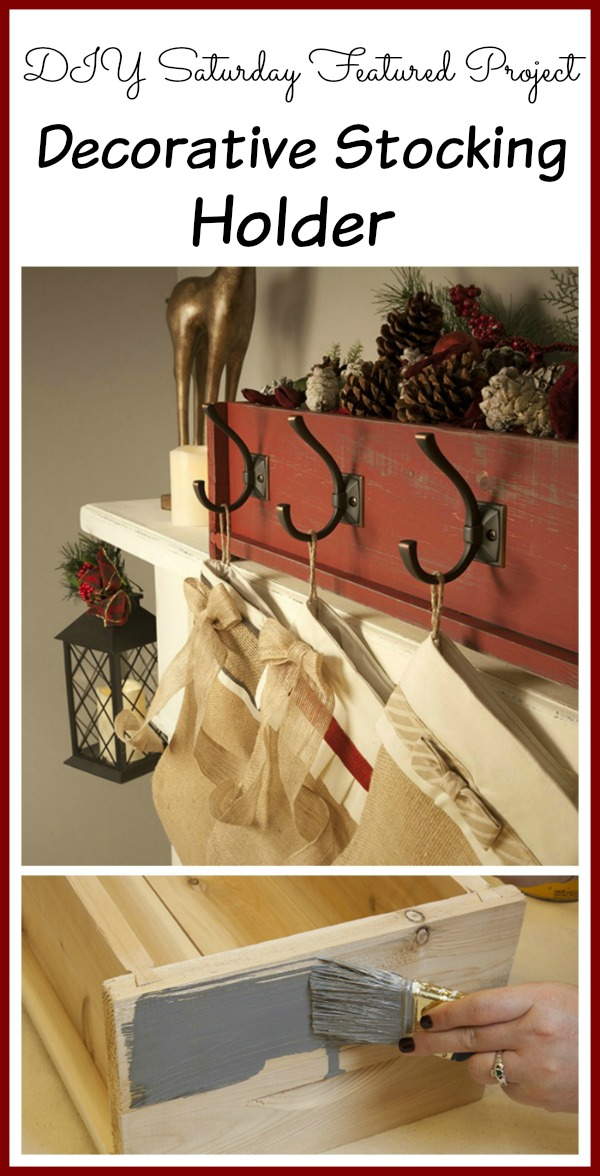Decorative Christmas Stocking Holder from a planter box! DIY Saturday Featured Project #diy #christmas #christmasdecor