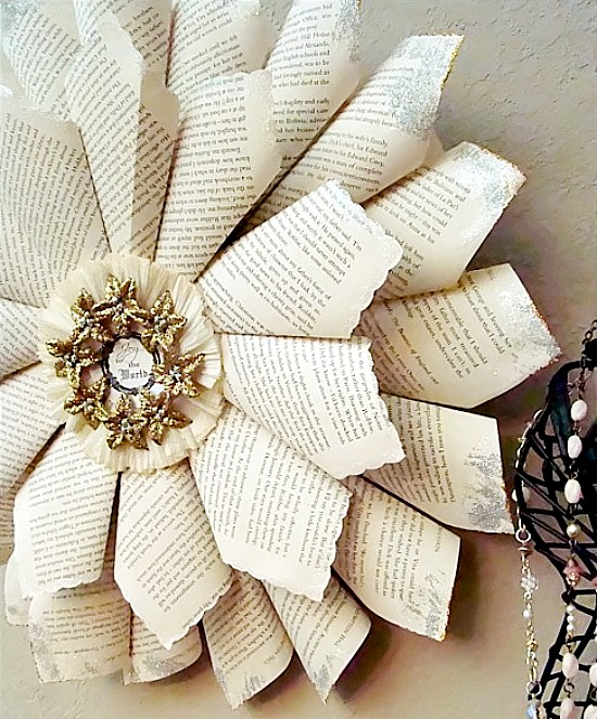 Dollar store Christmas book page wreath