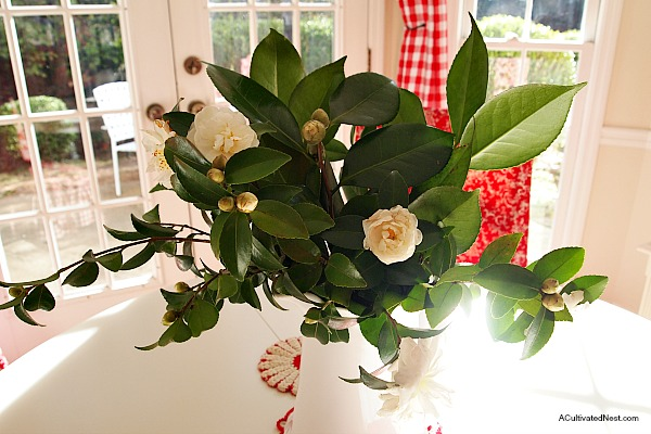 Freshly picked camellias from the garden