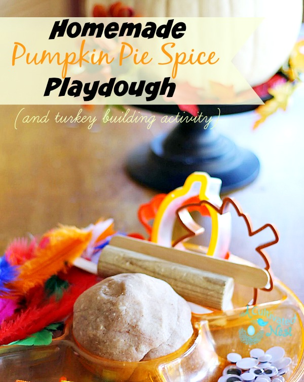 This amazing smelling homemade pumpkin pie playdough recipe and turkey making activity will keep the kids busy!
