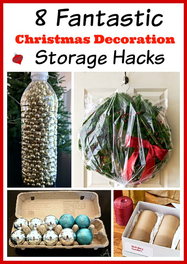 8 Christmas Decoration Storage Hacks- Putting away your Christmas decor isn't half as fun as getting it out! But organizing it doesn't have to be difficult, or costly. This year, have an easier time putting the decorations away and give these Christmas decoration storage hacks a try! | Christmas organization ideas, organizing tips, budget organizing ideas, upcycle, repurpose, Christmas storage containers, #ChristmasDecor #organizing #ACultivatedNest