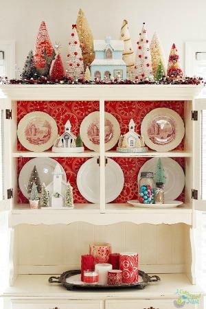 Christmas China Cabinet Decorating
