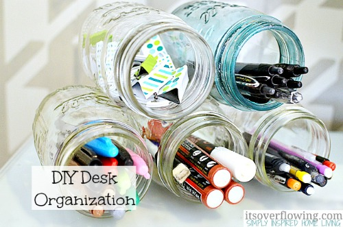 Organizing with jars - organize your desk with jars