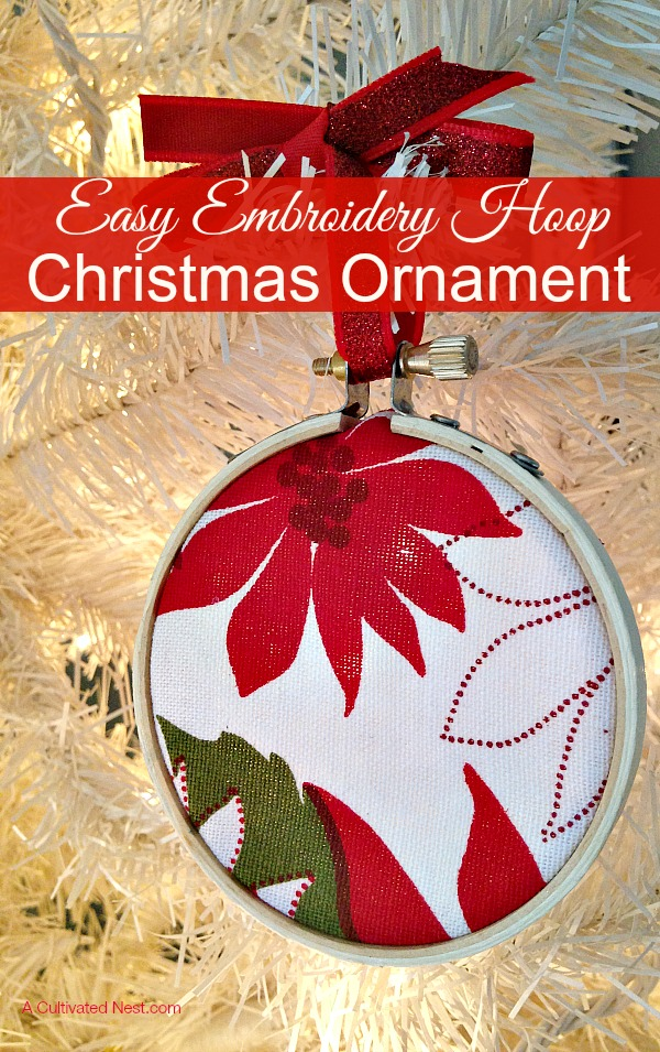 Easy DIY Christmas ornament! You can make your own easy embroidery hoop Christmas ornaments in just minutes, perfect for decorating your tree or attach to a present as a one of a kind tag.