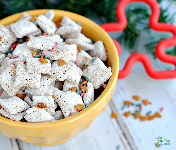 Gingerbread puppy chow/Muddy Buddies | This recipe is perfect for Christmas since it's a gingerbread flavor! It only takes a few ingredients and you'll have the perfect party or snack mix that's delicious, quick and easy!