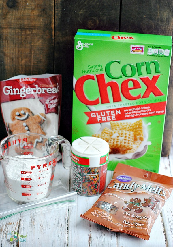 Ingredients needed to make gingerbread puppy chow snack mix