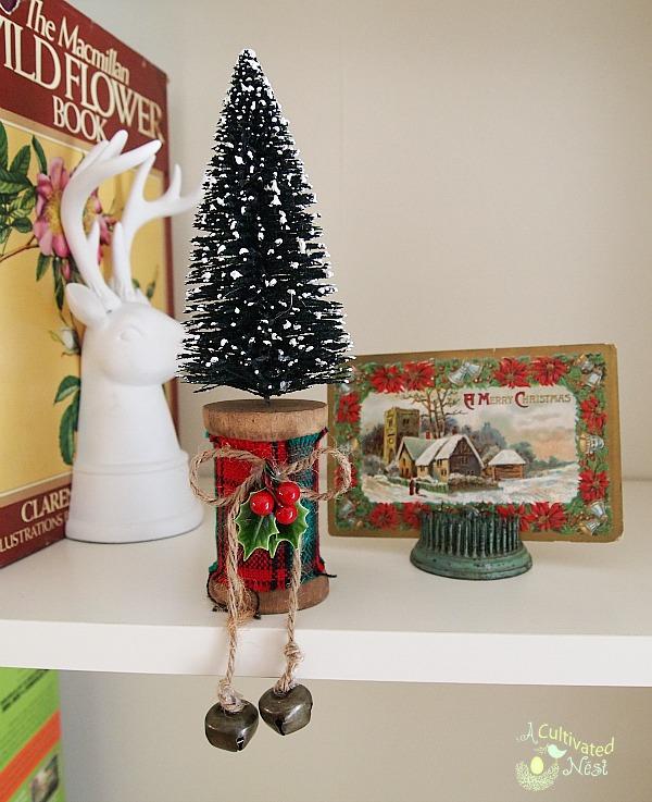 bottle brush tree and vintage Christmas card