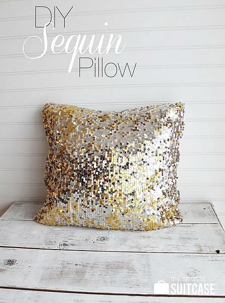 7 Festive and Frugal Ways to Decorate for New Year's Eve - DIY sequin pillow