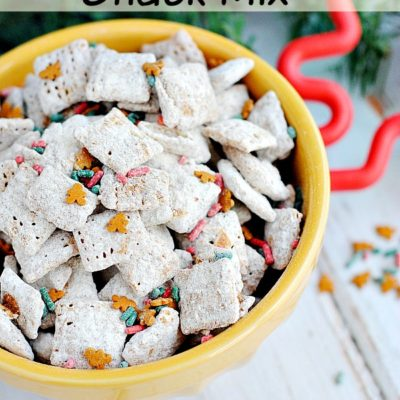 Delicious gingerbread puppy chow snack mix!