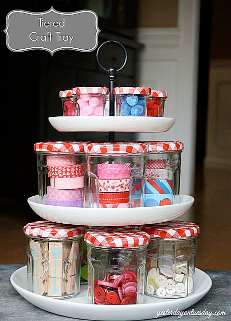 Organizing with jars - small jam jars organize craft supplies