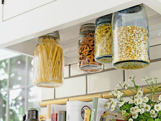 Organize with jars- under cabinet storage of food in jars
