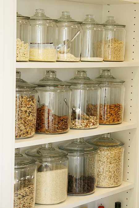 Organizing with jars - organize your pantry with large jars for bulk food purchases