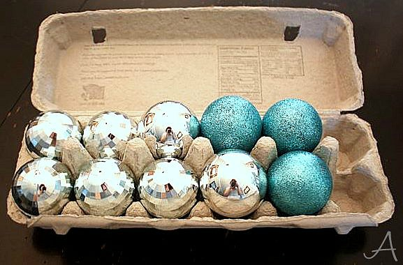7 Holiday Storage Hacks - Store Christmas ornaments in egg cartons