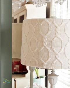 DIY Wintery White Sweater Lamp