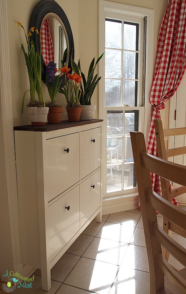 Ikea Hemnes shoe cabinet in dining area