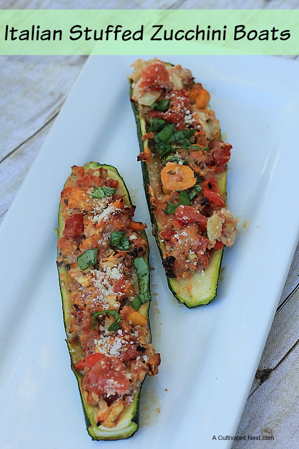 Italian Stuffed Zucchini Boats | Whether you are looking for a (practically) meatless main dish or a tasty side veggie for your meal, these Italian Stuffed Zucchini Boats fit the bill. Full of healthy vegetables, & loads of flavor!