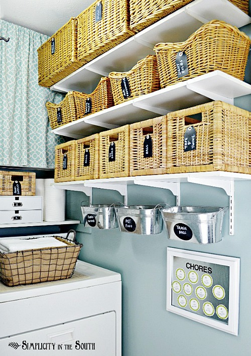 10 Pretty Ways To Organize With Baskets | laundry room organization with baskets