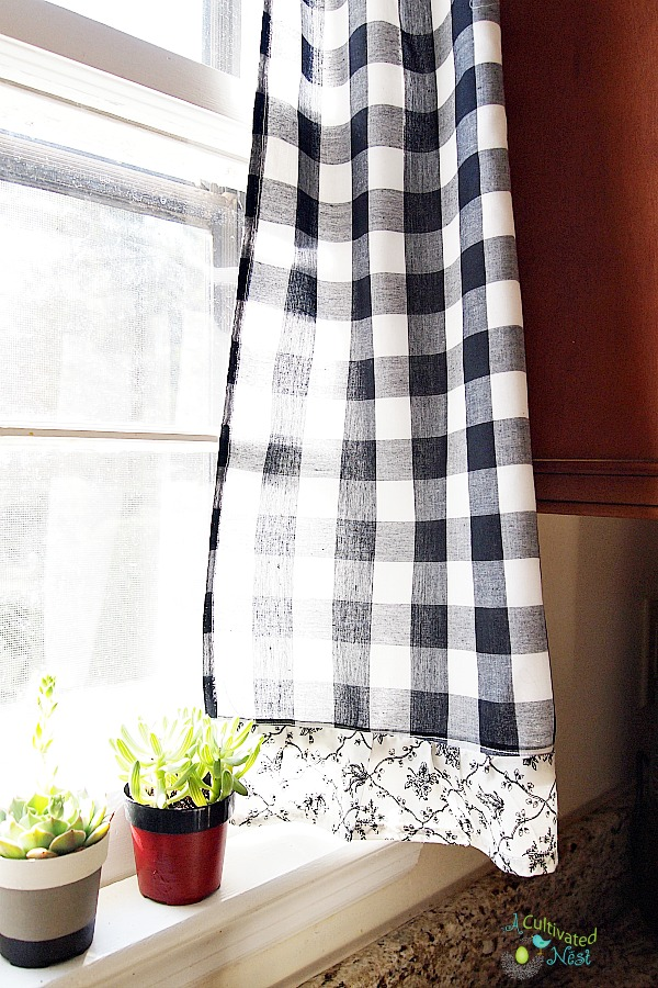 Frugal decorating idea - thrifted curtains re-made to fit a kitchen window  and it was no sew too!