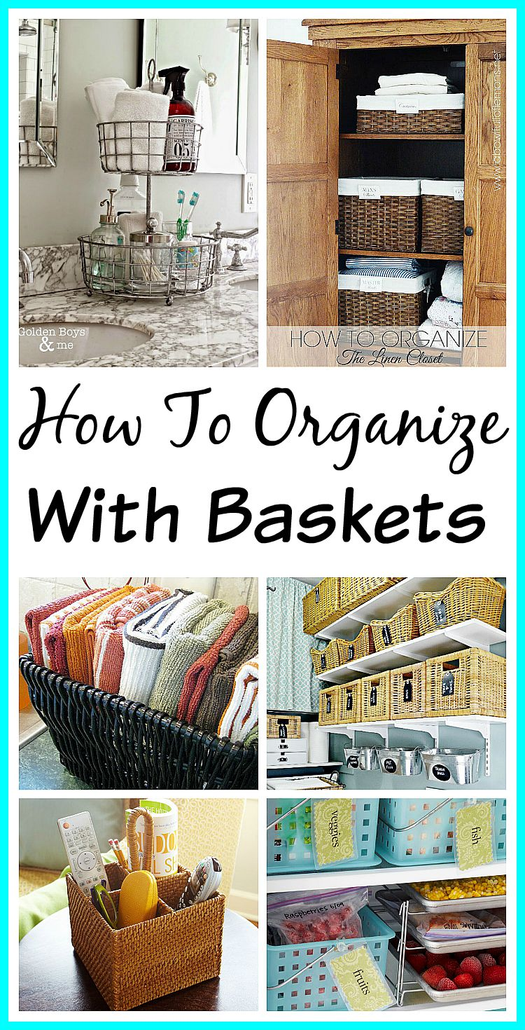 10 Ways to Organize with Baskets - what better way to organize than with something simple, pretty and inexpensive, like baskets! Home organizing ideas| how to be organized| decorating with baskets | Organization