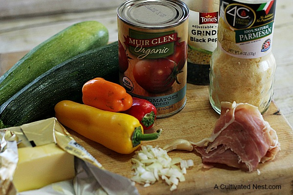 ingredients for stuffed zucchini boats