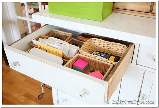 organize kitchen drawers with baskets