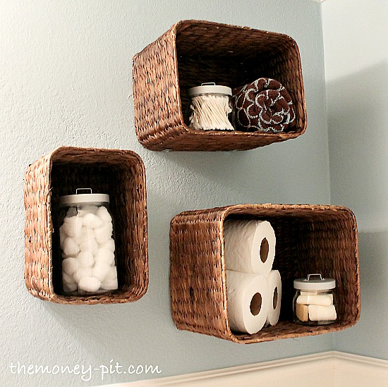 10 Pretty Ways To Organize With Baskets like these basket shelves from The Kim Six Fix