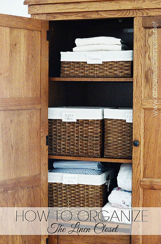 10 Pretty Ways to Organize with baskets | organize your linen closet with baskets