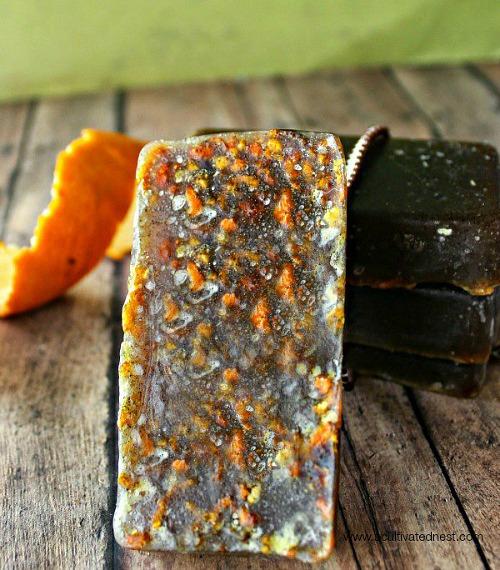 exfoliating hand soap with orange peels