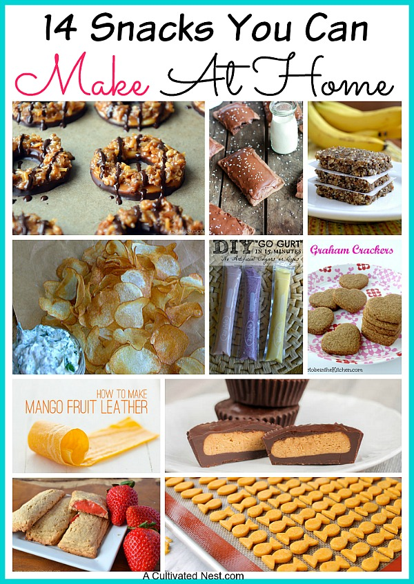 14 Snacks You Can Make At Home Instead of Buying - these snacks are simple to make at home and healthier than the store bought version.