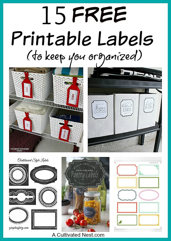 graphic relating to Free Printable Organizing Labels named 15 Absolutely free Printable Labels For Setting up- A Cultivated Nest