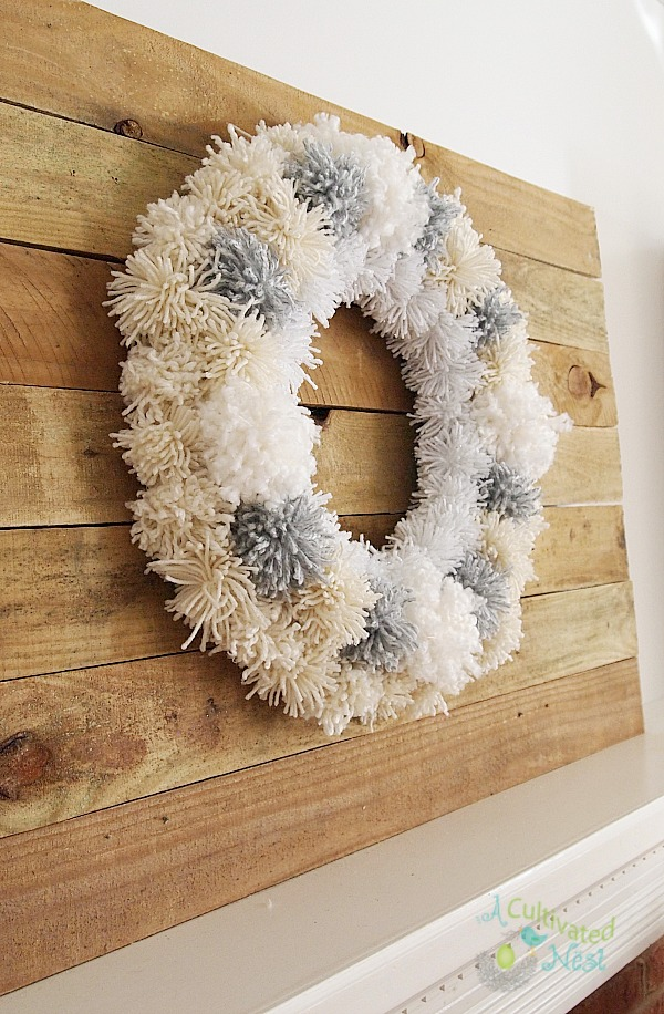 DIY Winter Pom Pom Wreath - so easy anyone could make one!