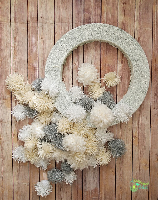 Materials for DIY Pom Pom Wreath
