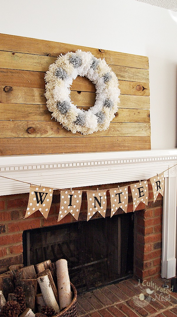 DIY Winter Yarn Pom Pom Wreath - so easy anyone could make it!
