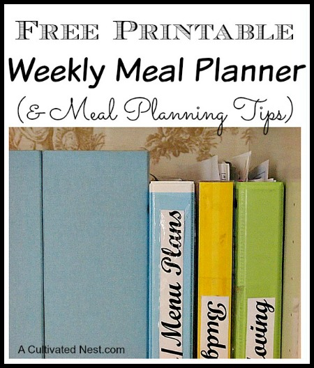 Menu Planning | Free Printable Menu Planning Sheet