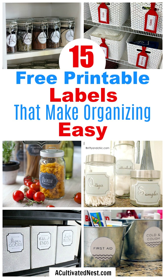 15 Free Printable Labels for Organizing- A frugal way to organize your home is with free printable labels! Use them to organize your bins, baskets, jars and boxes and create a beautifully organized home! | organize your pantry, organize your linen closet, organize your food, organize your home office, organize your garage, #organizing #organization #organize #freePrintable #labels #printable #homeOrganization #ACultivatedNest