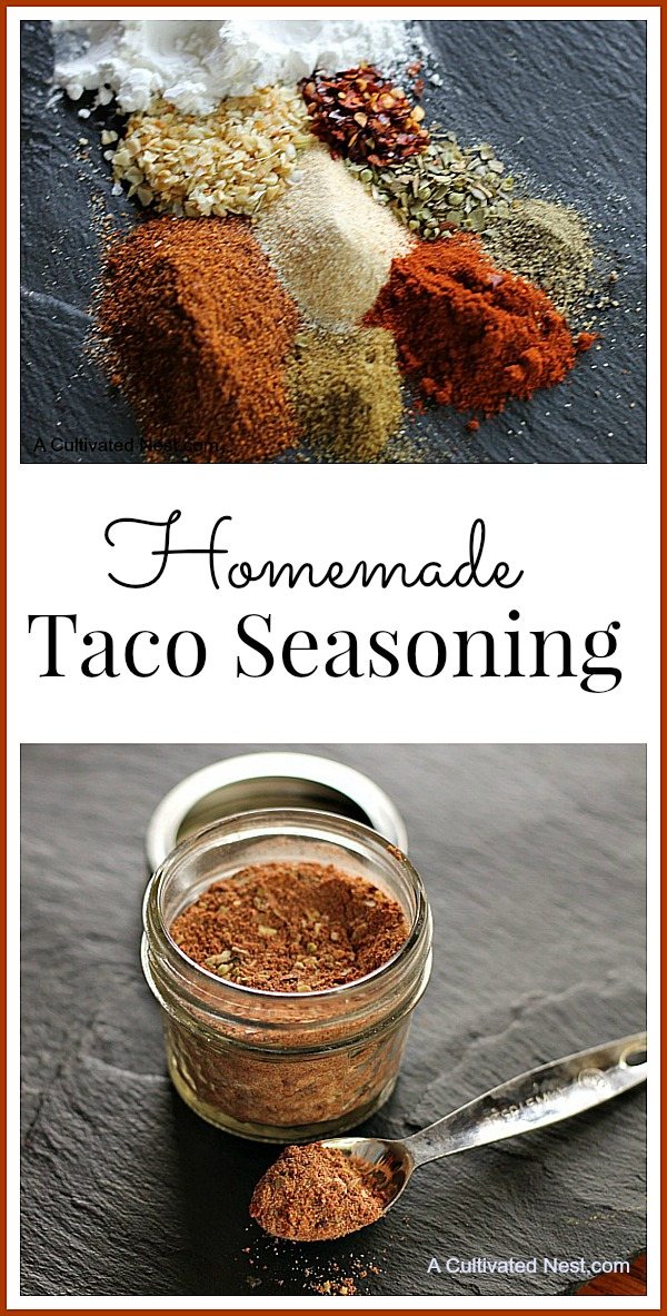 Make your own Homemade Taco Seasoning Mix. It's easy to make and you probably already have the required ingredients on hand. Plus it's healthier!