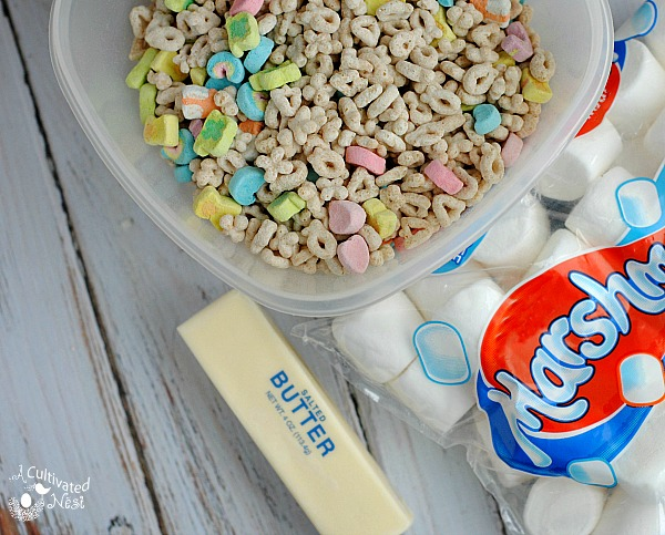 Ingredients for Lucky Charms Treats