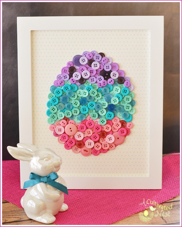 Diy Easter Craft Make Button Easter Egg Art