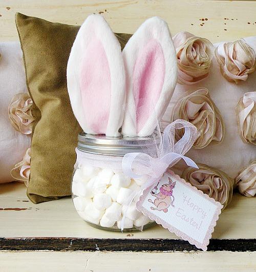 10 Cute Easter Treats In A Jar: Easter Bunny Ear Jars
