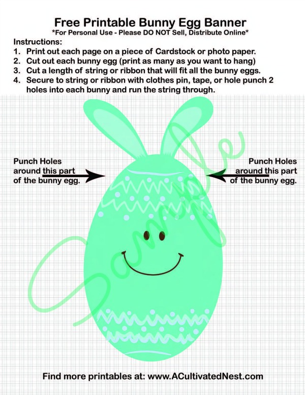 Free Printable Easter Bunny Egg Banner Sample and Instructions