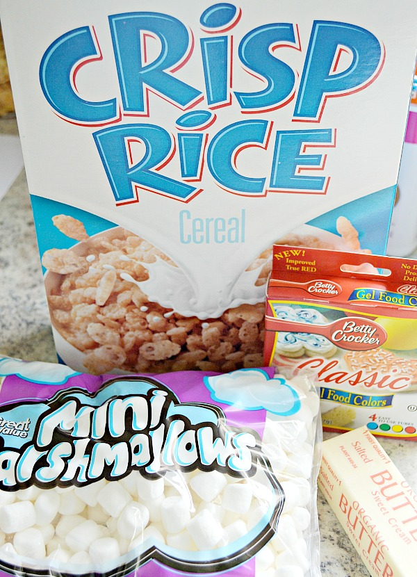 Ingredients for Easter Egg Rice Krispie Treats