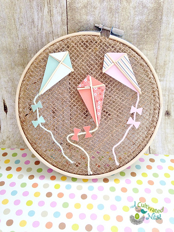 Easy & Inexpensive Spring Craft - Kite Hoop Art