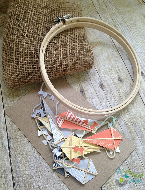 Supplies for spring craft - kite hoop art