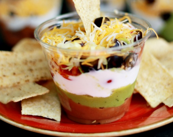 Easy to make individual 7 Layer Dip Cups
