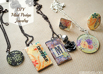 DIY Mother's Day Gifts: handmade mod podge jewelry